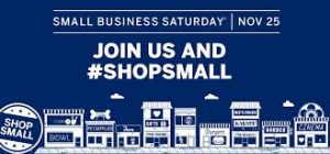 Graphic showing small businesses and text urging to Shop Small and shop local.