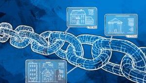 A chain of computer-generated interlocking links carrying transaction information that is verified through distributive consensus using blockchain technology.