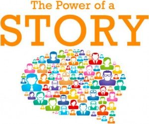 "A graphic showing a word balloon filled with people with the title ""The Power of a Story."""
