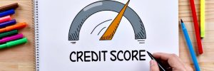 Insurance rates credit score, A hand-drawn gage showing your credit score.