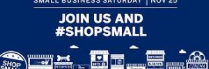 Graphic showing small businesses and text urging to Shop Small and shop local, support small businesses.