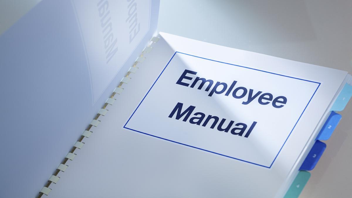Photo of spiral bound employee manual