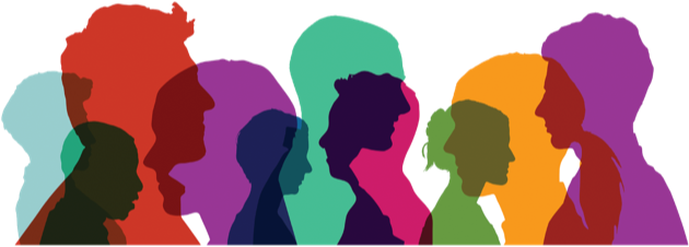 Illustration showing silhouettes of a diverse group of people.