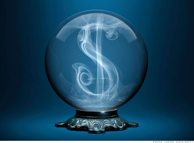 A crystal ball with a dollar sign made of smoke inside.